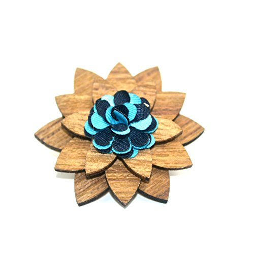 (Men's Wood Lapel Flower Wooden Brooch Boutonniere Pin for Suit Wedding Corsage (3), One Size)