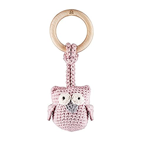 MayLily Premium | SNUGGLE OWL Organic Teether for every Super Baby | Maple Wood / Organic Cotton GOTS / Bamboo filling | Hand knitted | Antibacterial & Antifungal | Made in EU |