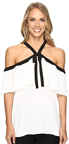 Vince Camuto Women's Off Shoulder Ruffled Blouse with Neck Tie New Ivory Blouse