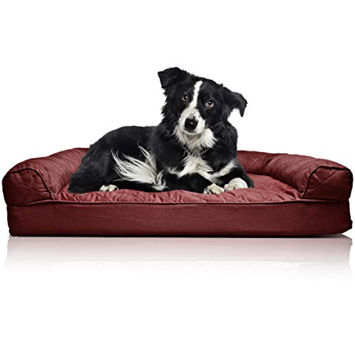 FurHaven Pet Dog Bed | Orthopedic Quilted Sofa-Style Couch Pet Bed for Dogs & Cats, Wine Red, Large
