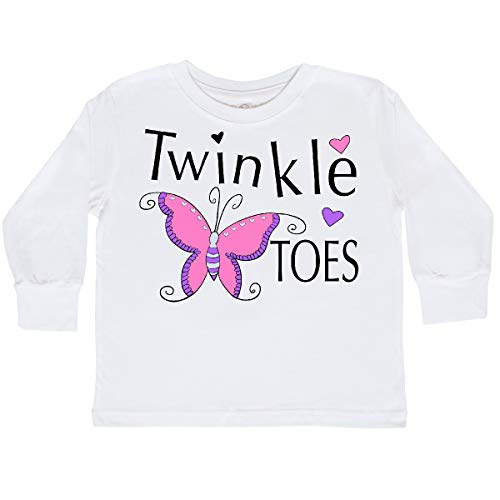 inktastic - Twinkle Toes Pretty Toddler Long Sleeve T-Shirt 4T White 29efc