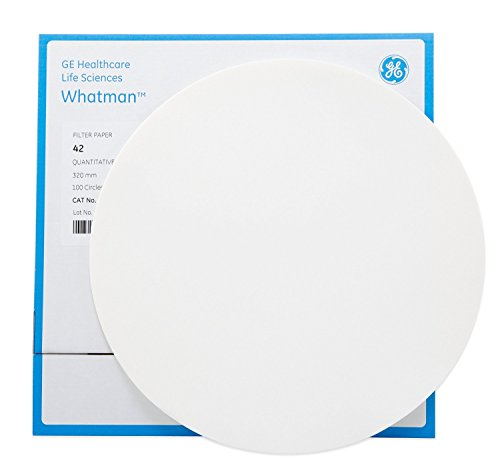 Whatman 1442-240 Ashless Quantitative Filter Paper Sheet, 2.54cm Length x 9.00cm Width, 2.5 Micron, Grade 42 (Pack of 100) by Whatman