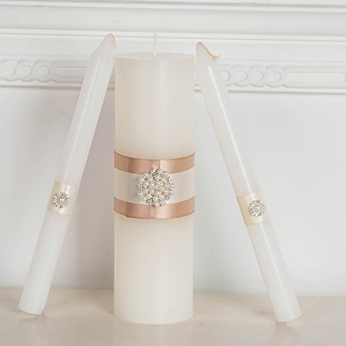 www.Beadingsupplys.com Unity Candles, Wedding Unity Candle Ceremony Unity Candles Set Handmade Rustic Ribbon decrorated