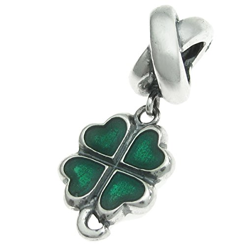 Sterling Silver Green Lucky Irish Four Leaves Clover Heart European Style Bead - Charm Irish Lucky