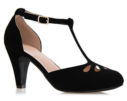 (OLIVIA K Women's Low Heels Mary Jane Pumps - Adorable Vintage Shoes- Unique Round Toe Design with an Adjustable T Strap )