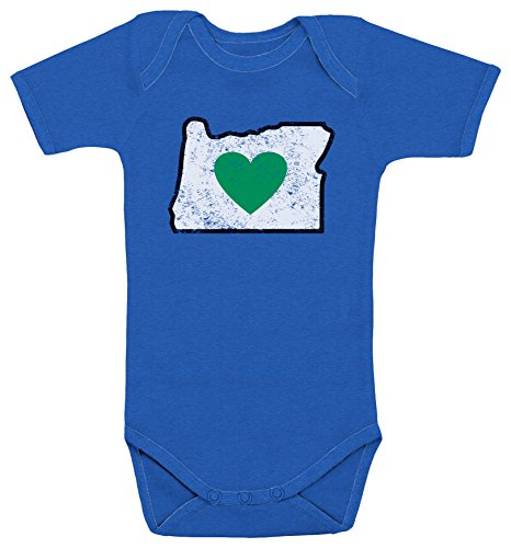 Heart in Oregon Infant Romper Distressed Design Blue - 100% Cotton Body Suit for 12M Baby Boys Girls Onesie Baby Shower New Born Gift