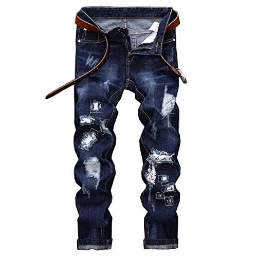 Giovane Strappati Uomo Diritti Media Senza Alla Casual Ricamati Blu Jeans Moda Vita Pantaloni Cinturino Da A pnv8EnzS