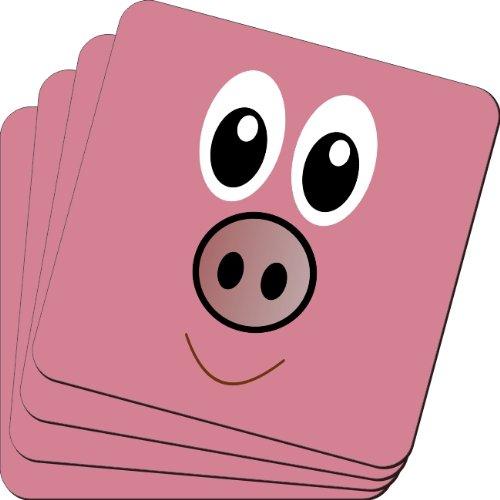 rikki knight Pig diseño de cara de dibujos animados suave cuadrado posavasos de cerveza (juego de 2), multicolor