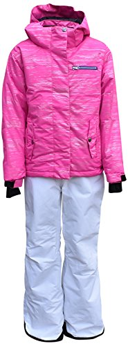 Pulse Big Girls Youth 2 Piece Snowsuit Ski Jacket Snow Pants Glitter (Large (14/16), Pink/White) by Pulse