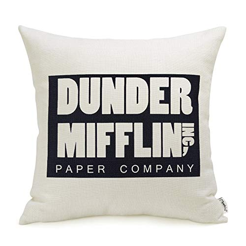 The Office Merchandise Dunder Mifflin Pillow Covers 18 x 18 Inch The Office Gifts for Dwight Schrute Fans (Full House Tv Show Merchandise)