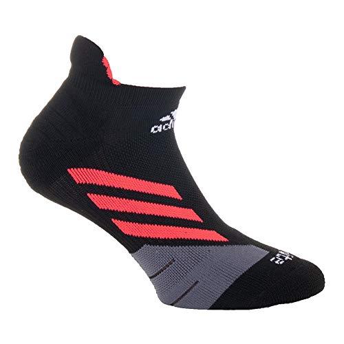 adidas Tennis Traxion Single No Show Socks, Black/Shock Red/Onix/White, Large