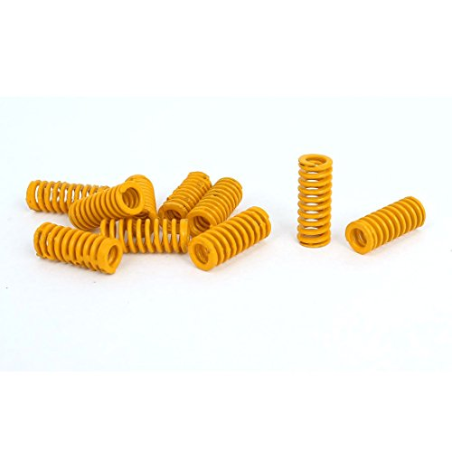 uxcell 8mm OD 20mm Long Light Load Compression Mould Die Spring Yellow 10pcs -