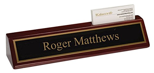 QuickTrophy Rosewood Desk Name Plate with Business Card Holder - 10