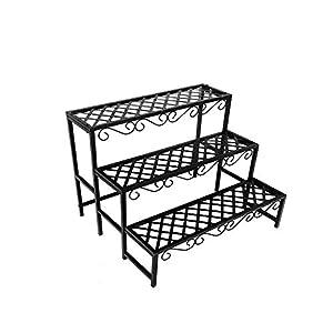 3 Tier Black Plant Stand,Pot Flower Metal Display Shelf Storage Garden Patio Indoor & Outdoor Use,Max. Load: 30kg,27.5 X…
