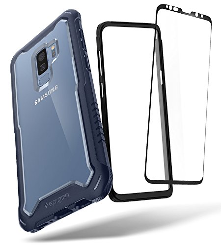 Spigen Hybrid 360 Designed for Samsung Galaxy S9 Plus Case (2018) Glass Screen Protector Included - Deep Sea Blue ()