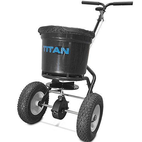 Spreader Lawn Drop (Titan 50 Lb. Fertilizer Broadcast Spreader, Lawn Care and Ice Melter Yard Tool)