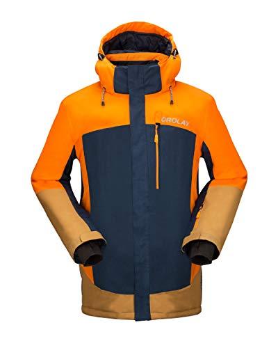 Orolay Mens Waterproof Fleece Ski Jacket Windproof Mountain Rain Jackets with Hood Orange L