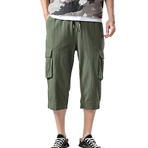 BingYELH Men's Casual Loose Fit Straight-Legs Stretchy Waist Beach Pants Drawstring Gym Fitness Joggers Workout Yoga Pants Army Green
