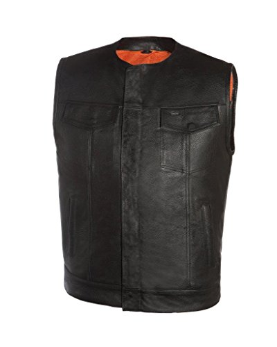 - True Element Mens Round Neck Collarless Club Style Leather Motorcycle Vest (Black, X-Large)
