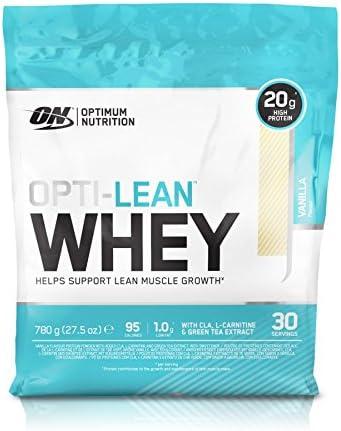 Optimum Nutrition Opti-Lean- Diet Whey Protein Powder (mit CLA und L-Karnitine, Fettarmes Diät Eiweißpulver von ON) Vanilla, 30 Portionen, 780g