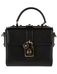 Dolce&Gabbana women's leather handbag barrel bag purse black
