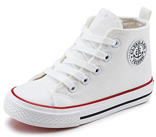 DADAWEN Girl's Boy's Canvas Side Zipper Lace Up High-Top Fashion Sneakers (Toddler/Little Kid/Big Kid) White US Size 12 M Little Kid