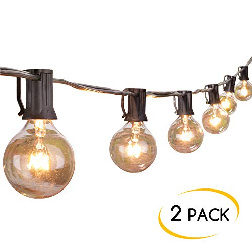 (2-Pack 25Ft Outdoor Patio String Lights with 25 Clear Globe G40 Bulbs, UL Certified for Porch Backyard Deck Bistro Gazebos Pergolas Balcony Wedding Market Cafe Party Decor,Black )