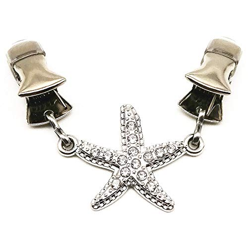 Ever Cute Starfish Sweater Guard Clips Rhinestone Jewelry Cloak Clasp Brooch Clamp Cinch with Clothing Cardigan Scarf…