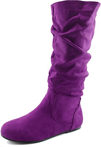 Women's Mid Calf Slouch Faux Suede Comfortable Slip On Round Toe Flat Heel Knee High Boots Fashion Shoes, Purple Seude, 5.5