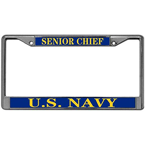 Pack License Plate Frame for US Canada Cars US Navy Senior Chief License Plate Frame Tag Metal USN US Navy License Plate Frame