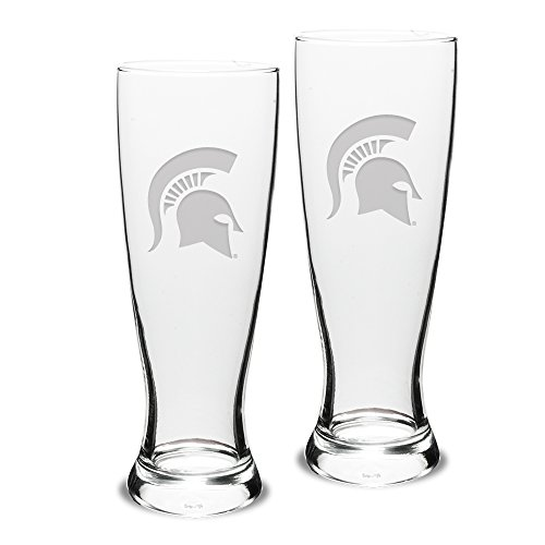 NCAA Michigan State Spartans Adult Set of 2 - 23 oz University Pilsners Deep Etch Engraved, One Size, Clear ()