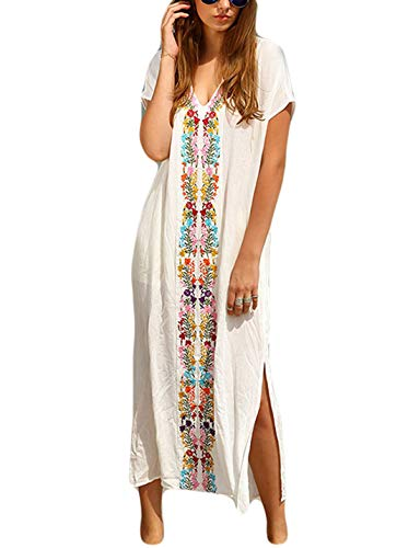 Ailunsnika White Cotton Turkish Robes V Neck Embroidered Dress Short Sleeve Side Slit Beachwear Cover up