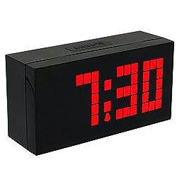 CHkosda Led Display Big Digital Snooze Alarm Clock with Temperature and Calendar(red)