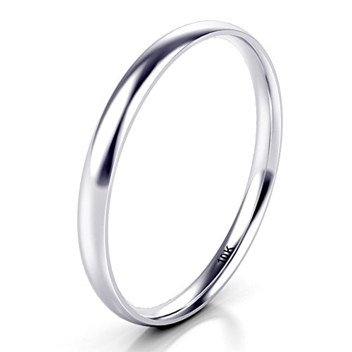 Sz 6.0 Solid 10K White Gold 2MM Plain Dome Wedding Band Ring by Kobelle