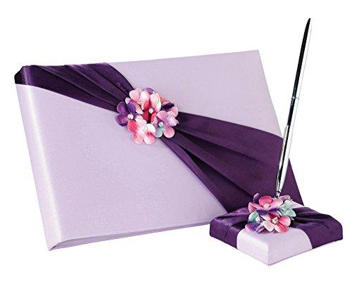 - Lillian Rose Purple Flower Wedding Guest Book Pen Set