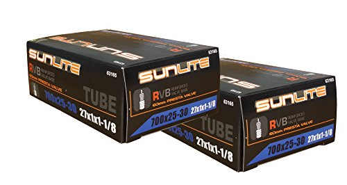2 PACK - Tube, 700x25-30 (27x1 to 1-1/8), 60mm PRESTA Valve. Replacement tube for Fixie, single speed, road or hybrid. Works on any bike with same tire dimensions and valve type.