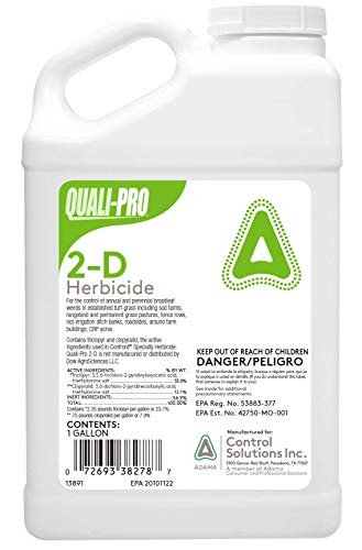 Quali-Pro 2-D Herbicide | Controls Annual and Perennial Broadleaf Weeds Including Chickweed, Clover, Dandelion, narrowleaf, Plantain, Oxalis, Smartweed and Wild Violet (Generic Confront) (1 Gallon)