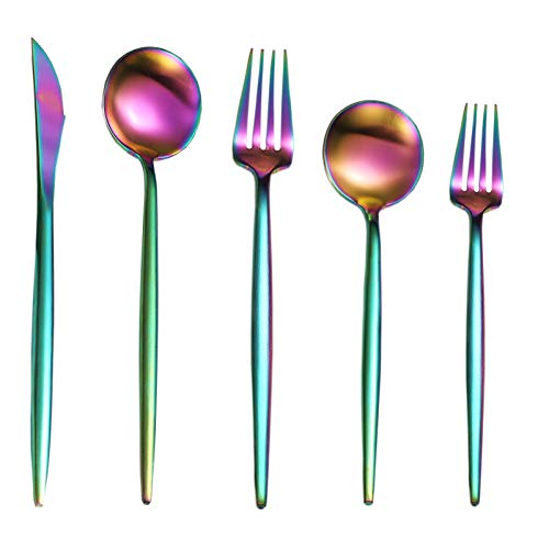 Rainbow Silverware Set 20 Pieces, 18/10 Stainless Steel Flatware Set Service for 4, Satin Finish, Colored Kitchen…
