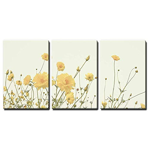 wall26-3 Panel Canvas Wall Art - Yellow Wild Flowers - Giclee Print Gallery Wrap Modern Home Decor Ready to Hang - 24