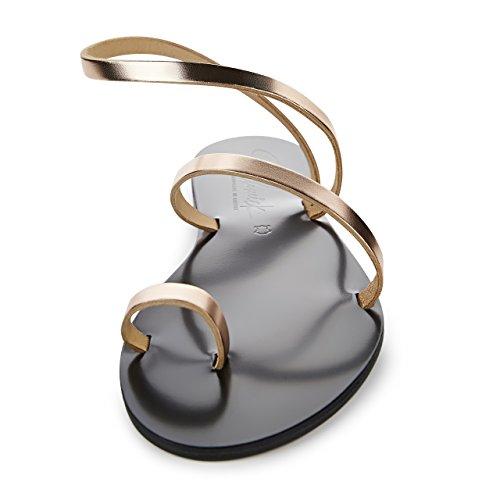 Sandali Con Scarpe Schmick Hekate: Sandali Infradito In Pelle Da Donna Scarpe Estive Sandali Con Cinturino Tacco Piatto Realizzato A Mano Rosegold / Nero