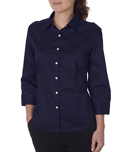 Van Heusen V0527 Ladies' 3/4-Sleeve Dress Twill Button Down Shirt, Navy, Large