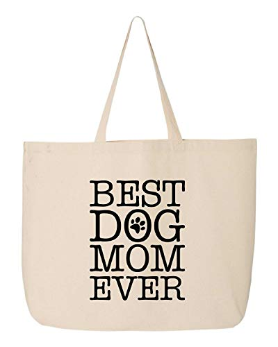"BeeGeeTees Best Dog Mom Ever Canvas Tote Bag Cloth Shopping Bag (Jumbo 20""x15""x5"")"