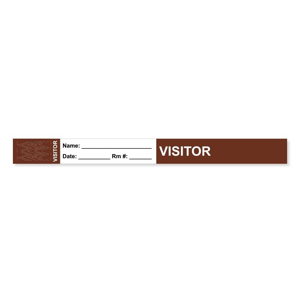 PDC Healthcare VISBAND1 Visitor Pass Wristband, Tamper-Evident Tyvek, Visitor ___ Name: 1'' x 10'', Adult, Brown (Pack of 1000)