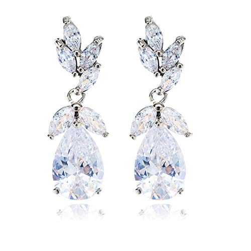 Silver Bridal Earring for Women - Elegant Teardrop Cubic Zirconia Cluster Floral Leaf CZ Crystal Rhinestone Wedding Earring for Bride Bridesmaids Mother of Bride Party Prom