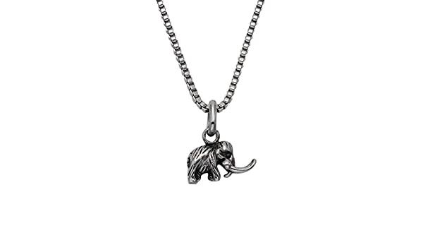 Tiny Stainless Steel Woolly Mammoth Pendant w//18 Box Chain