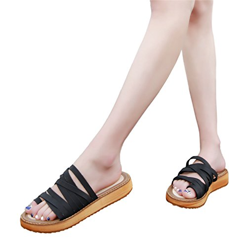 Thong Wedge Gladiator Sandals Black Flip Flop Toe Toe Strap Open Double Sandal Smilun Strappy Lady's BCq7PHSI