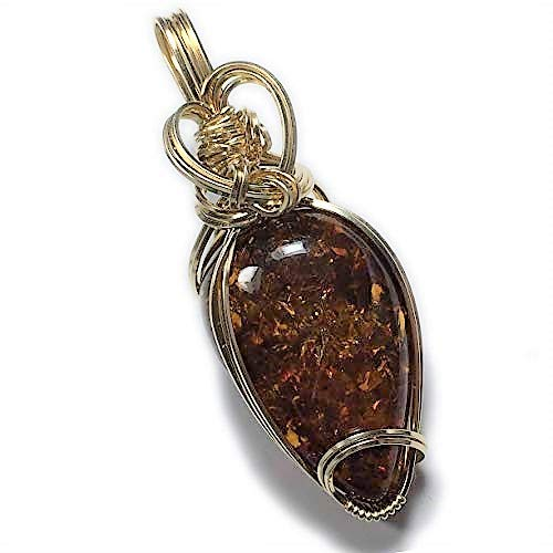 Rocks2Rings Baltic Amber Pendant Gold - Filled, Deep Orange Cognac with Black Leather necklace Jewelry by Rocks2Rings 30G2-54