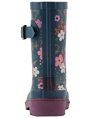 Oakiwear Kids Rubber Rain Boots, Midnight Floral, 4Y US Big Kid by Oakiwear (Image #4)