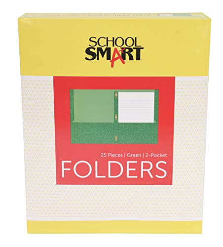 School Smart 2-Pocket Folder with Fasteners, Green, Pack of 25