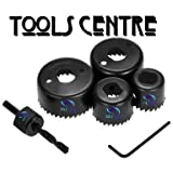 TOOLS CENTRE HIGH QUALITY 6PCS HOLESAW SET DRILL BIT CUTTING ROUND FOR WOOD WORKING.